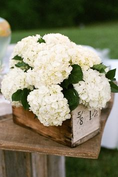 Simple vintage rustic centerpiece idea: put a bunch of football hydrangeas in an an old wooden box.