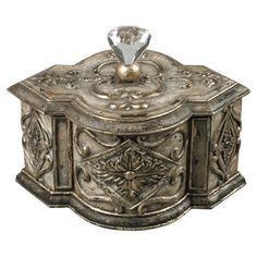 Perfect for stowing treasured keepsakes and jewelry, this elegant trinket box showcases scrollwork accents and a Mansfield silver finish.  ...