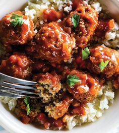 Beef Quinoa Mini Meatballs with Spiced Pomegranate Sauce & Mashed Cauliflower