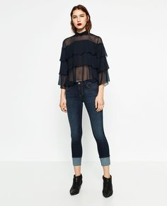 Image 1 of 3/4 SLEEVE FRILLY BLOUSE from Zara