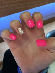 Hot pink glitter nails #pink #acrylic