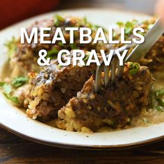 Craving a classic and true comfort food? Meatballs and Gravy is a recipe that I always make when I'm craving comfort food. Large homemade meatballs with rice that are baked with a gravy sauce on them. Large Meatball Recipe, Meatball Recipes, Meat Recipes, Cooking Recipes, Meatloaf Recipes, Minced Beef Recipes, Amish Recipes, Easy Dinner Recipes, Easy Meals
