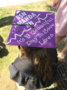 Nursing Greys anatomy graduation cap. It's a beautiful day to save lives