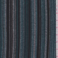 """Teal Blue Stripe Flannel ........ Item#: 19982      Teal Blue, Aqua, White & Black  Twill Look Stripe Flannel Fabric with Soft, Brushed Surface  Suitable for Blouses & Sleepwear  100% Cotton  56"""" wide  Machine Washable  5.50 per yard"""