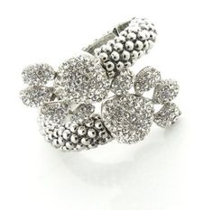 Paw Print Clear Pave Crystal Hinged Cuff Bracelet