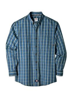 Dickies WL359 Men's Long Sleeve Plaid Button-Down « Clothing Impulse