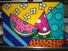 Melon pop-art by Romero Britto Painting For Kids, Art For Kids, Arte Country, Pintura Country, Stick Art, Indian Folk Art, Sad Art, Arte Pop, Art Plastique