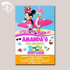 splish splash bash pool party birthday party card digital invitation