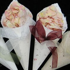 wedding favors, fill with flower petals, when done plant the paper and grow wildflowers