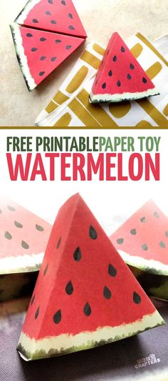 These paper craft templates are simply adorable! I love this beautiful watemelon paper craft - it's a free printable perfect for pretend play, summer . Fruit Decoration For Party, Picnic Decorations, Watermelon Crafts, Fruit Crafts, 3d Paper Crafts, Paper Crafts For Kids, Paper Crafting, Templates Printable Free, Free Printables