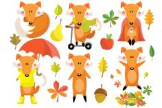 Fox Autumn Clipart Set by Julia_Sunrain on @creativemarket