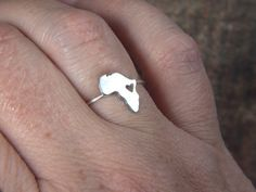 Africa  ring heart 925 Sterling silver ring by africandreamland Doing one for Ghana, West Africa