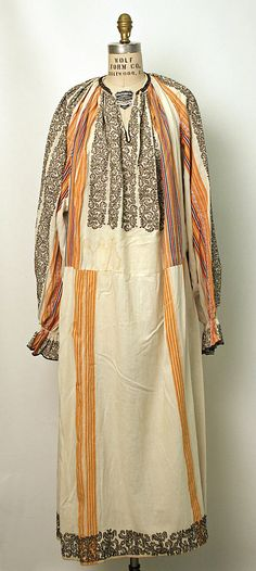 Dress Date: Culture: Romanian Medium: cotton, metal Tribal Costume, Folk Costume, Tibetan Clothing, Ottoman, Gypsy Dresses, Ethnic Dress, Textiles, Couture, Ao Dai