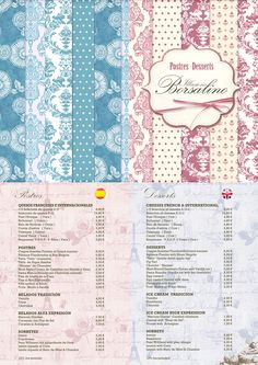 Carta de postres Queso, Sheep, Goats, Cow, Bullet Journal, Design, Desserts, French Tips