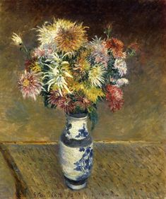 Chrysanthemums in a Vase by @art_caillebotte #impressionism