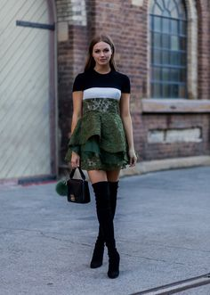 Pin for Later: 73 Styling Hacks to Steal From the Street Style Down Under Give Your Fancy Dress a Street Style Update With an It Bag and Boots Alex Perry dress and Stuart Weitzman boots.