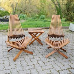 Retro Kentucky Stick Chairs, Footstools and Table #EBTH