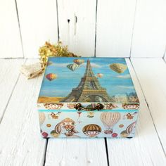Paris Eiffel Tower Hot Air Balloons  aquamarine Box gift for mom white brownromantic French  Travel Art provence style home (27.50 USD) by Alenahandmade