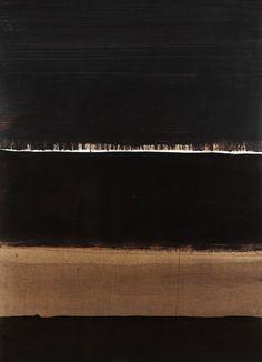 """blastedheath: """" brokenwind Pierre Soulages (French, b. 1919), 1998 - G, 1998. Brou de noix on cardboard, 102.5 x 74 cm. """""""