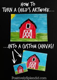Tutorial: Create a custom photo transfer canvas with your child's artwork using Mod Podge Photo Transfer Medium! Such a smart DIY project idea! #PlaidCreators