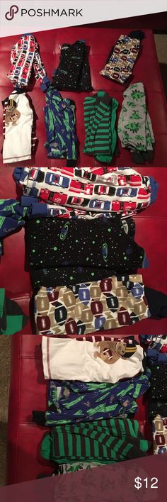 Carters PJ Lot 7 pairs of long sleeve and pants pj set by Carters. Cars, spaceships, football, dinosaurs. Great condition. No holes or stains. Make me an offer! Carter's Pajamas Pajama Sets
