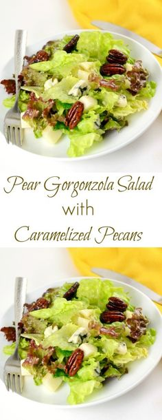 This Pear Gorgonzola Salad is an amazing burst of flavors. Made in minutes, this healthy and delicious meal is sure to please. #bluecheese  #healthysaladrecipe