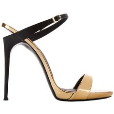 Giuseppe Zanotti Women's Coline Colorblock Sandals (21 630 UAH) ❤ liked on Polyvore featuring shoes, sandals, black, color block sandals, metallic leather sandals, black shoes, metallic heel sandals and metallic shoes