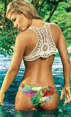 paradizia crochet bikini- love the crochet back. You can mix and match with some tropical looking bikini bottoms.