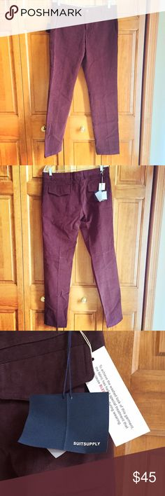 Suit Supply burgundy pants Brand new with tags! Burgundy/oxblood soft twill casual trousers from Suit Suppy. Flap pockets in back. Size 32. Pants