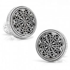 Konstantino Sterling Round Lattice Cufflinks