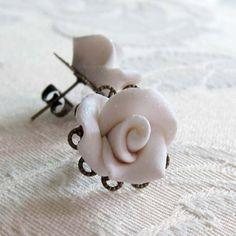 White Rose Glitter Earrings Winter White by MadelineKdesign