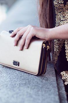 Paul's Boutique Summer 2015 | Pandora clutch bag in textured Gold | Online now: www.paulsboutique.com | £55