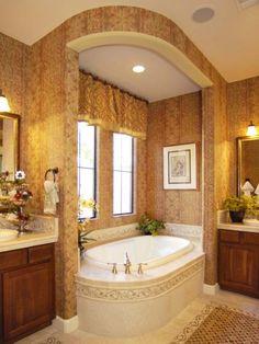 Golden hues traditional bathroom 510x679   Stunning Mediterranean Style Master Bathroom Trend