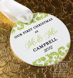 Our First Christmas Ornament Mr and Mrs Wedding Ornament Personalized Wedding Gift - Kirkland Pattern on Etsy, $19.00