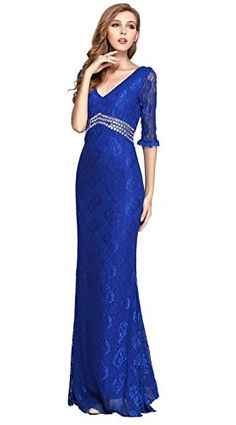 VCFormark Womens V Neck Lace Sleeves Beading Long Evening Party Prom DressBlueL >>> More info could be found at the image url.(This is an Amazon affiliate link and I receive a commission for the sales)