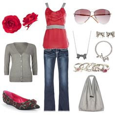 Love the jeans and pink top! HATE the shoes.