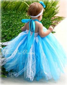 Flower Girl, Tutu Dress, Blue Turquoise and Aqua Vintage Style Lace Tutu Dress 2T to 4T. $64.00, via Etsy.