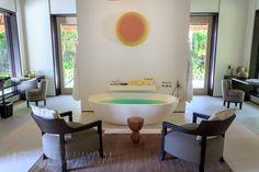 bathroom in my villa at Cheval Blanc Randelhi