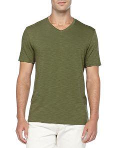 Slub Jersey V-Neck Tee, Green, Women's, Size: MEDIUM - Vince