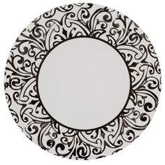 A unique black damask design transforms these white paper plates into a stylish party necessity!  sc 1 st  Pinterest : pink and white paper plates - pezcame.com