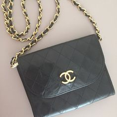 Authentic Chanel Vintage WOC wallet on a chain crossbody bag in gre...