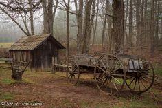 A wagon at Mabry Mill on the Blue Ridge Parkway near Meadows of Dan, VA.