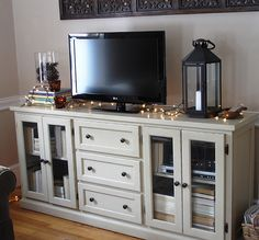 Like this!!Entertainment Center but distress paint robin egg/turquoise blue