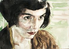 A wonderful watercolor portrait of Audrey Tautou in Amelie.  From stefanress.deviantart.com/art/Amelie-Poulain-Watercolour-2