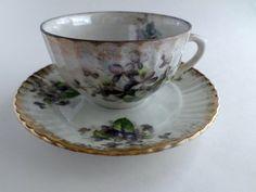 Vintage Lustreware Tea Cup and Saucer Violet Motif, Made in Japan, vintage porcelain