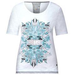 Shirt mit Grafikprint    Shirt mit halbem Arm und Grafikprint in Melange-Optik von CECIL. Das leicht körpernah geschnittene Shirt bekommt durch die unregelmäßige Garnstruktur eine interessante Optik. Der Frontprint mit grafischen Elementen und die farblich abgesetzten Stitchings an den Seiten geben dem Shirt einen coolen Look. Halblange Ärmel, Rundhalsausschnitt und kleine Seitenschlitze am Sau...