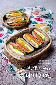 Korean Dishes, Korean Food, Food Design, Asian Recipes, Healthy Recipes, Ethnic Recipes, Vegan Lunch Box, Appetizer Sandwiches, K Food