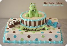 Hippo Baby Shower Cake www.facebook.com/the.rachels.cakes