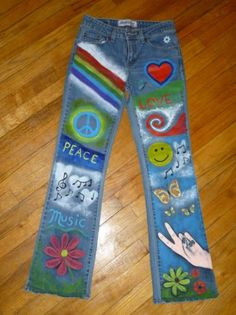 Flower Child Hippie Hand- Painted