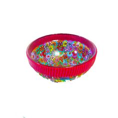 pink bowl made with polymer clay cover glass with by MIRAKRIS, $19.00